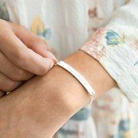 Cherie Message Bar Personalised Bracelet, Silver/Rose Gold/Rose