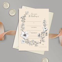 Ivory Floral Baby Christening Invitations Set Of 10