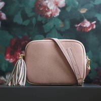 Leather Cross Body Handbag With Tassel, Baby Pink