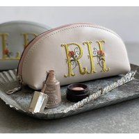 Personalised Make Up Bag And Embroidered Initials