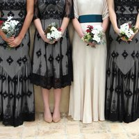 Black And Ivory Lace Bridesmaids Dresses