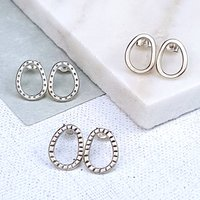 Small Silver Hoop Studs, Silver