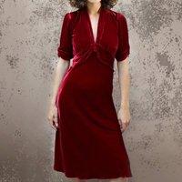 Deep Red Silk Velvet Midi Dress