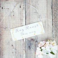 Personalised Botanical Wedding Arrow Sign