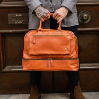 Personalised Tan Leather Holdall With Shirt Compartment