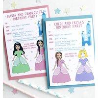 Twin Or Joint Princess Birthday Party Invitations