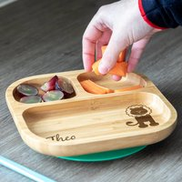 Personalised Lion Bamboo Suction Plate For Kids