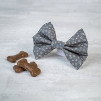 Grey Floral Dog Bow Tie For Girl Or Boy Dogs