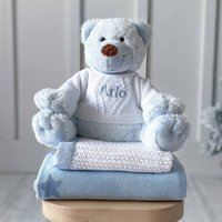 Personalised Happy Horse Boogy Bear Blue Soft Toy
