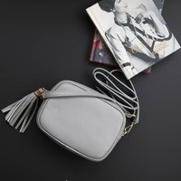 Grey Leather Cross Body Handbag With Tassel