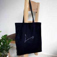 Zodiac Tote Bag, Black/Blue/Red