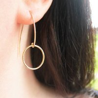Long Textured Rolled Gold Earrings, Gold
