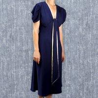 1930s Style Blue Crepe Midi Length Dress With Sash