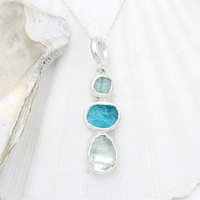 Aquamarine And Apatite Natural Gemstone Silver Pendant, Silver