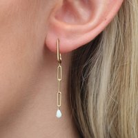 18ct Gold Chain And Opal Earrings, Gold