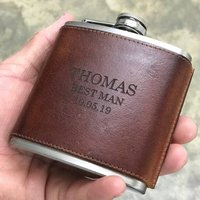 Personalised 'Best Man' Leather Hip Flask
