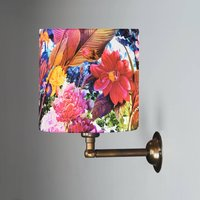 Wall Light With Tropical Floral Drum Shade
