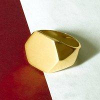 Men's Hexagonal 18k Gold Plated Silver Signet Ring, Silver