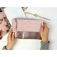Two Tone Leather Clutch Bag