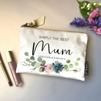 Personalised Velvet Floral Garland Printed Makeup Bag