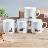 Woodland Collection Mugs, Set Of Four