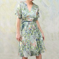 Sophia Dress In Painters Garden Print Crepe