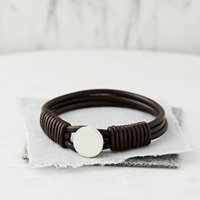 Personalised Hidden Message Silver And Leather Bracelet, Silver