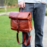 Convertible Roll Top Leather Backpack Satchel