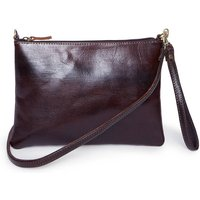 Alex Chocolate Cross Body Leather Clutch Bag