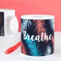 Breathe Palm Leaf Botanical Print Mug