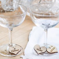Personalised Heart Shaped Wedding Glass Charms