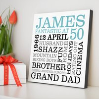 Personalised 50th Birthday Typographic Art, Red/Black/Grey
