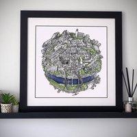 The Newcastle Globe Hand Drawn Map Print