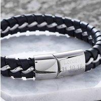 Personalised Black Leather Detailed Gents Bracelet