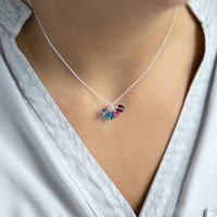 Family Birthstone Cluster Charm Necklace
