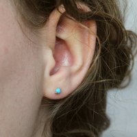 Sterling Silver Turquoise Stud Earrings, Silver