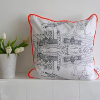 Hand Drawn Glasgow Piped Cushion, Black/Orange