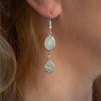 Silver Opal Filigree Drop Earrings, Silver