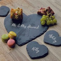 Personalised Mr And Mrs Heart Platter And Coasters