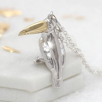 Personalised Sterling Silver And Gold Toucan Necklace, Silver