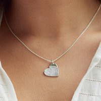 Silver Fingerprint Stamp Charm Necklace, Silver