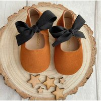 Whiskey Tan Suede Baby Shoes With Keepsake Box