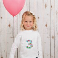 Personalised Birthday Age Rainbow T Shirt, White/Candy Pink/Pink