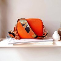 Orange Leather Handbag With Interchangeable Strap