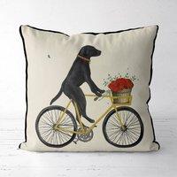 Black Labrador On Bicycle Decorative Cushion