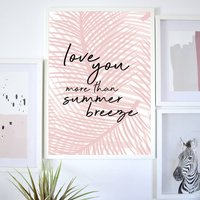 Contemporary Palm Print Pink/Green With Typography