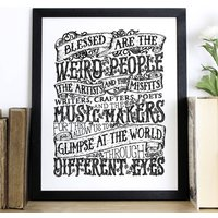 'Blessed Are The Weird' Typography Screen Print, Black/White/Fluorescent Pink