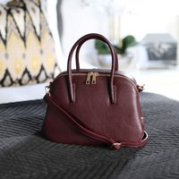 Leather Grab Handbag, Burgundy