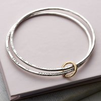 Personalised 9ct Gold And Silver Double Bangle, Silver