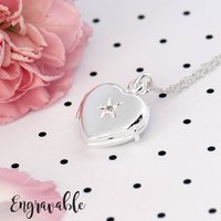 Diamond Heart Locket Sterling Silver, Silver